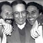 Joao Bosco, Joao Gilberto et Caetano Veloso. Festival de jazz de Vienne, 1989. Photo : Pascal Kober