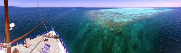 Navigation dans les Maldives à bord du Koimala. Atoll de Felidhe (Vaavu). Photo : Pascal Kober