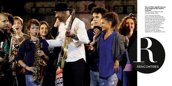 Marcus Miller, Agathe Iracema et les stagiaires des ateliers musicaux Festival Les Enfants du jazz, Barcelonnette, 2013 Photo : Pascal Kober